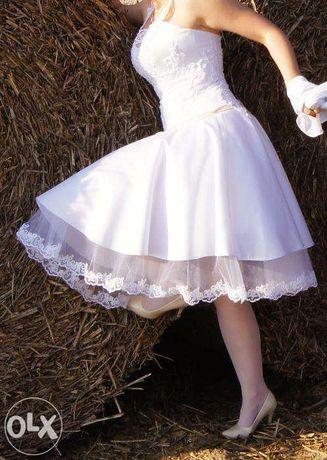 !! OKAZJA!! Krótka suknia ślubna 34-36 XS