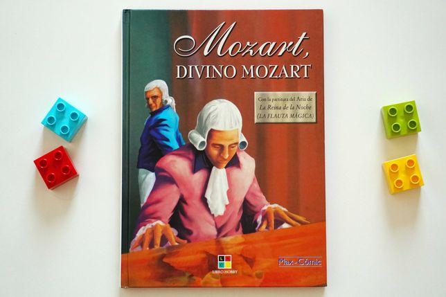 """Mozart divino Mozart"" - książka hiszpańska z komiksem"