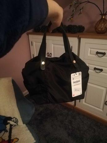 Zara damska torba torebka typu Shopper kuferek nylon czarna