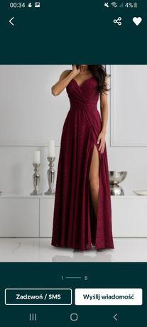 Długa, maxi bordowa suknia połyskująca