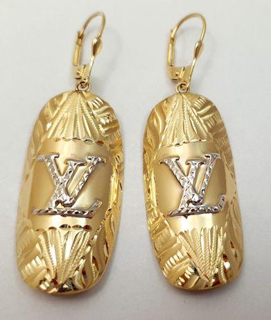 Złote długie wiszące kolczyki 6,79g p585 jak nowe /STERNA złoto