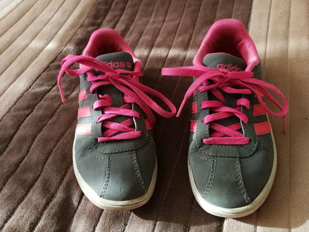 Adidasy szare z różowymi paskami i sznurówkami Adidas 30