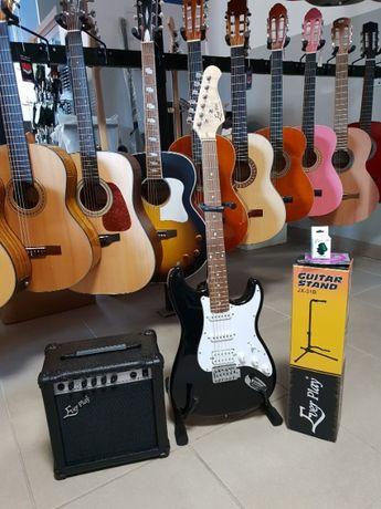 Nowa gitara elektryczna Strat + piec 15W zestaw akcesoria Pszczyna