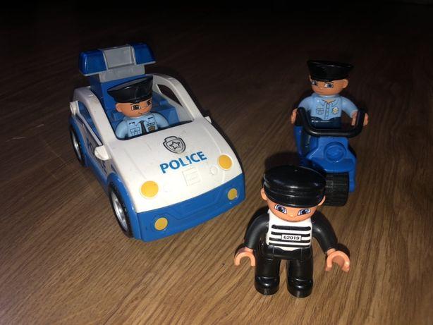 Lego Duplo klocki policja motocykl zlodziej radiowoz