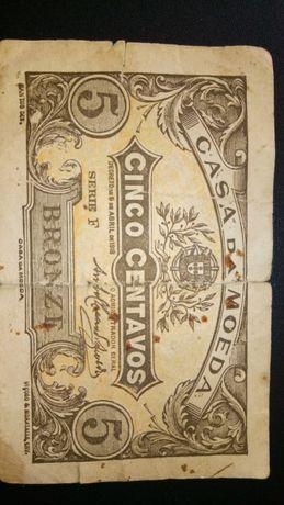 Nota de 5 centavos em bronze, datada de 5 de abril de 1918