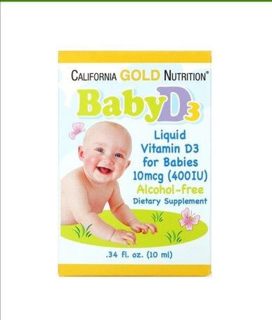 Витамин D3 в каплях для детей, 400 МЕ, California Gold Nutrition