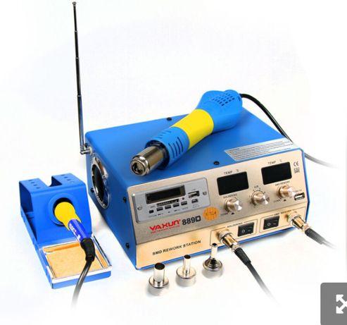 Паяльная станция 2в1 выход USB 5v плеер и FM YAXUN 889D фен паяльник