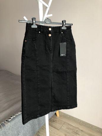 Nowa jeansowa spódnica spódniczka midi Reserved dżinsowa czarna 36 S