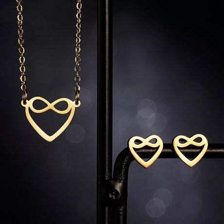 Śliczny Złoty Zestaw Biżuterii Łańcuszek Zawieszka Kolczyki