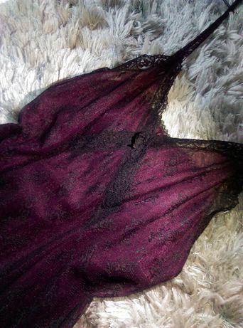 Haftowana halka w oberżynowym kolorze z czarną koronką