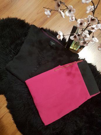 Cudny zestaw;) spódniczka fuksja ESPRIT nowa prażkowana bluzeczke M