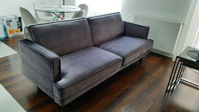 Kanapa sofa stan bdb 203cm welur/aksamit szarografitowa