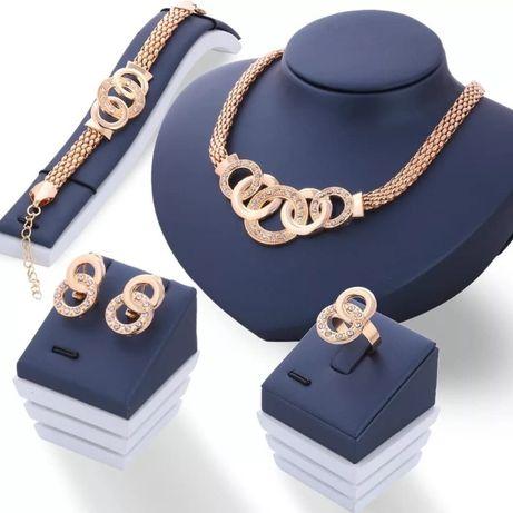 Mega komplet, okręgłe: naszyjnik + bransoletka + kolczyki + pierścione