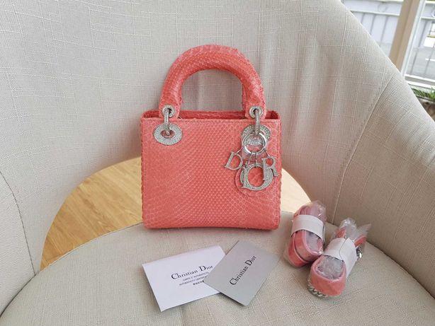 Torebka Dior Lady Dior rozowa skora weza