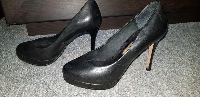 Skórzane czarne czółenka/szpilki