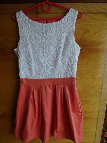 Piękna sukienka łososiowa z białym przodem. Tanio!
