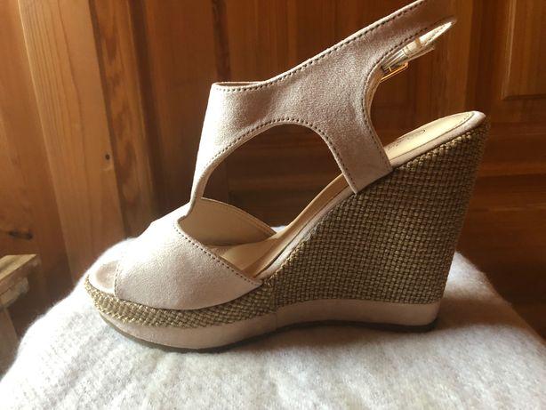 Koturny buty wysokie na koturnie jak nowe