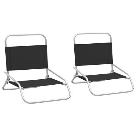 vidaXL Cadeiras de praia dobráveis 2 pcs tecido preto 310366