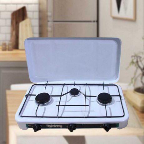 Плита для сжиженного газа настольная компактная с крышкой 3 конфорки