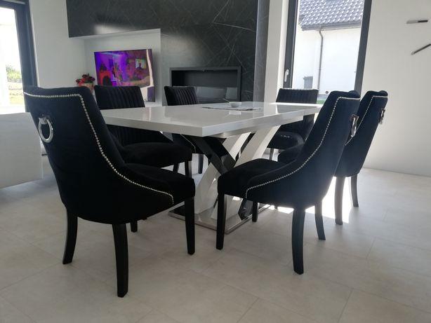 Krzesło z kołatką nowoczesne tapicerowane velvet