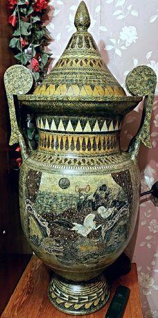 Напольная ваза, высота 115 см.Ручная роспись.Гончарная работа.