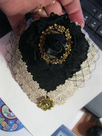 handmade ручная работа шляпка на куклу или ребенка ретро черная вуаль