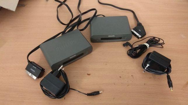 Transmiter bezprzewodowy obrazu i dźwięku ze złącza euro, pilot IR
