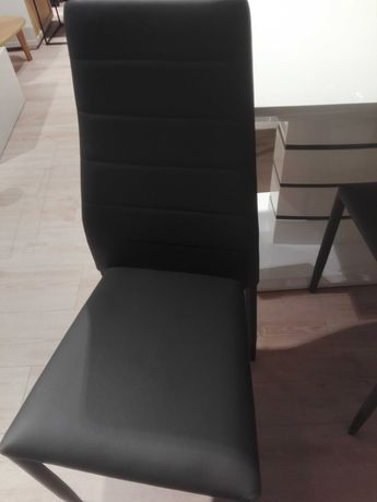 Krzesła ekoskóra NOWE ciemno szare Viola z ekspozycji 4 szt