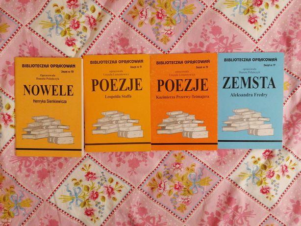 Opracowania lektur Nowele Sienkiewicza Poezje Tetmajera Zemsta