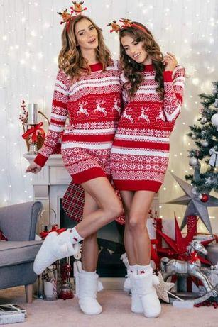Świąteczny sweterek tunika renifer
