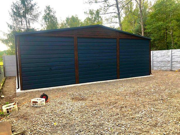 Garaze blaszane garaz blaszak 9x6 3 bramy uchylenie 250 wysokie