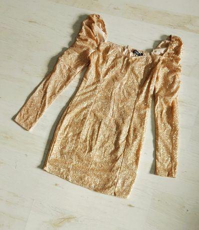 Sukienka złota brokatowa M
