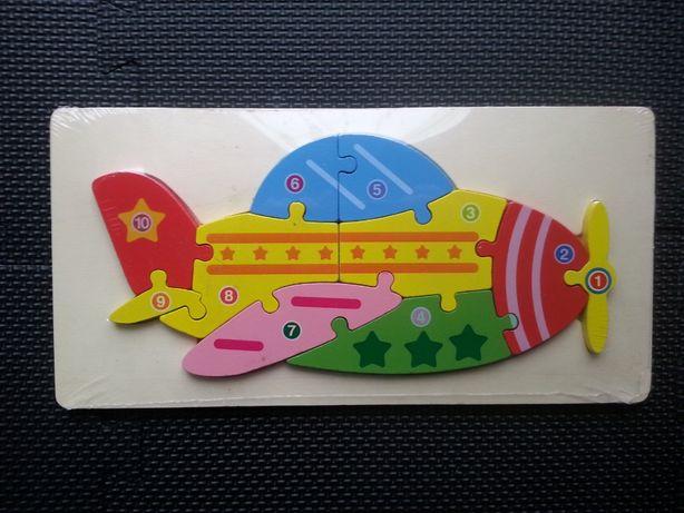 Drewniane Puzzle w kształcie Samolotu