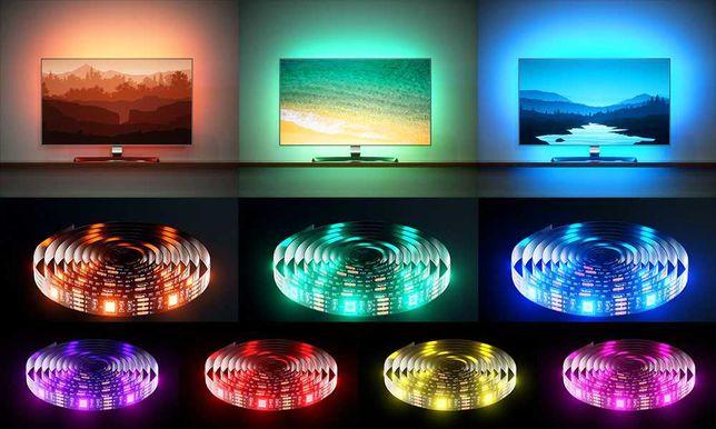 Taśma LED RGB podświetlenie TV USB 2m 3m ! 4m aplikacja Bluetooth NOWA