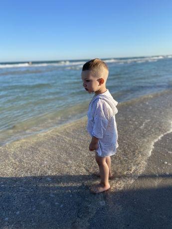 Детская пляжная туника накидка муслиновая батист штапель