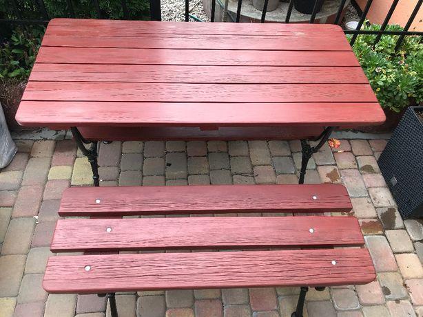 Stół + ławka ogrodowa-Drewno+ żeliwo
