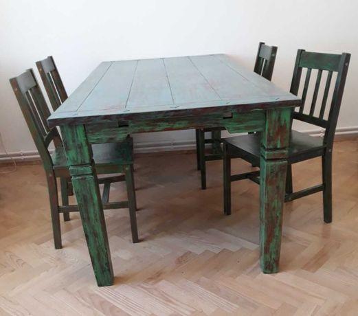 Stół drewniany solidny 90x178 cm z krzesłami. Odbiór osobisty.