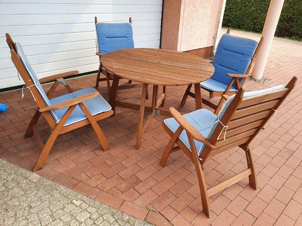 Meble ogrodowe drewniane komplet stół i fotele składane