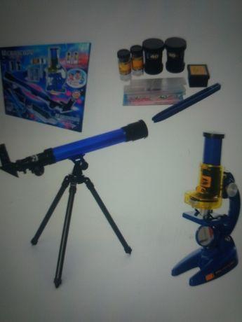 2в1 Микроскоп детский Телескоп подзорная труба школьный нов отличный