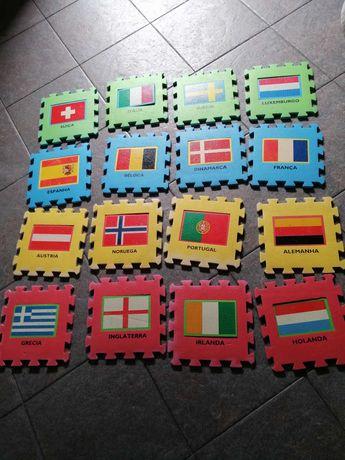 tapete puzzle em espuma c/ tema bandeiras europa