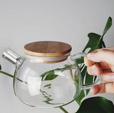 Стеклянный чайник-заварник