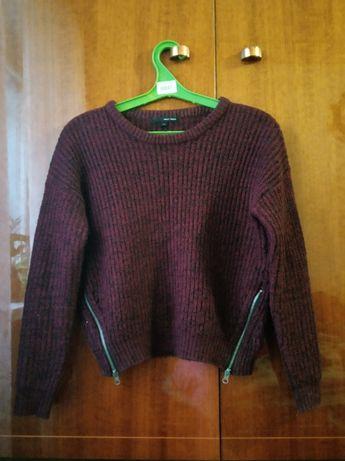 свитер укороченный вишневый