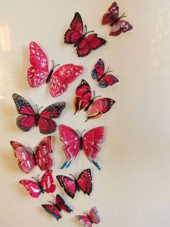 Бабочки двойные на стену наклейки 3D декоративные объемные стикеры 3д