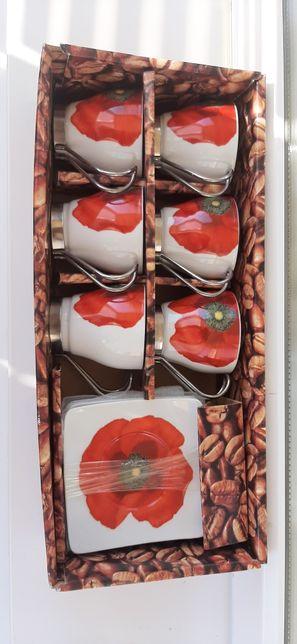 Кофейний набор чашки з блюдцем маки