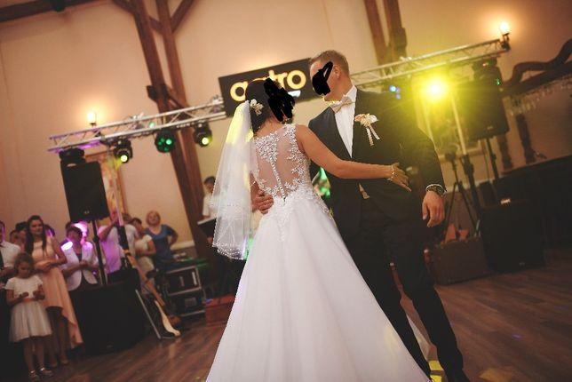 Piękna suknia ślubna, ZDOBIONE PLECY, koło + welon gratis roz. S