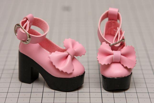 Buty dla lalki BJD Minifee 1/4 różowe z kokardką