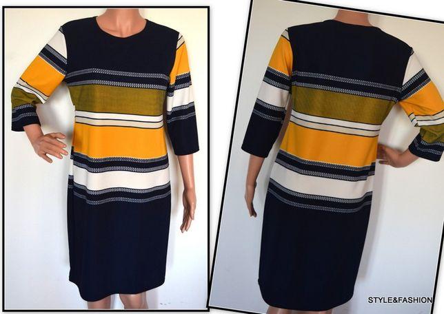 Klasyczna sukienka w kolorowe pasy NOWA rozmiar 46 i 48