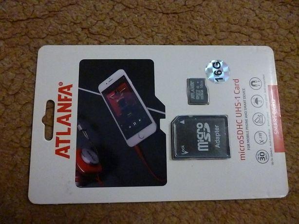 Карта памяти ATLANFA 16 GB microSD+ SD adapter
