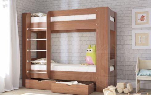 Двухярусная кровать Дуэт-3, с ящиками, кровать для двойни и погодок
