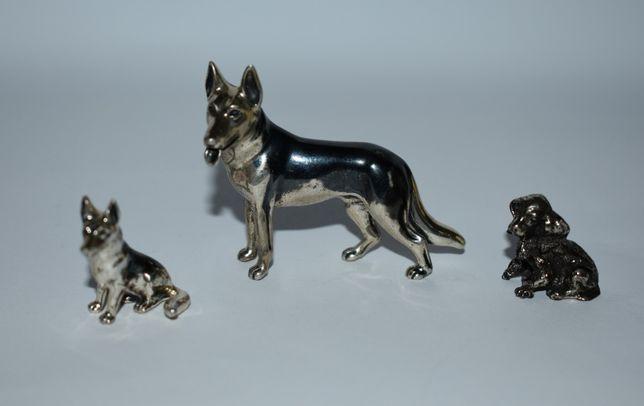 3 фигурки статуэтки собаки серебро патина общий вес 49,7 грамм винтаж